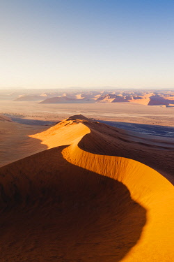 NAM6492AW Sossusvlei, Namib-Naukluft National Park, Namibia, Africa. Aerial view of the sand dunes at sunrise.