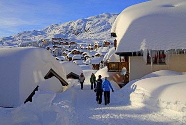 IBLGNG04646352 Village view with snow-covered chalets, Bettmeralp, Aletsch area, Upper Valais, Valais, Switzerland, Europe