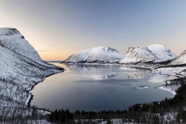 IBLHEI04648678 Norwegian fjord at dusk, Bergspoten, Senja, Norway, Europe