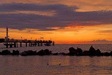 IBLSHG04565492 Sunset at the Seebrucke, Baltic resort Wustrow, Darss, Mecklenburg-Western Pomerania, Germany, Europe