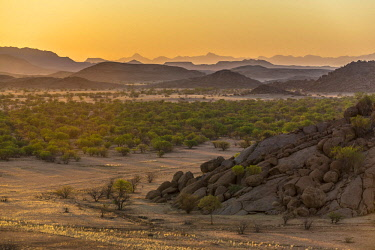 IBXDRN04649027 Sunset, mountainous landscape near Twyfelfontein, Kunene region, Namibia, Africa