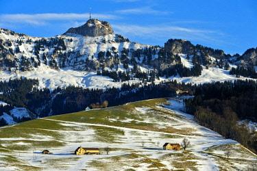 IBXGVA04630397 View of the Hoher Kasten peak, in winter, Alpstein, Appenzell Alps, Canton Appenzell Ausserrhoden, Switzerland, Europe