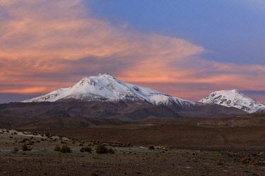 IBXNDK04617643 Volcano Parinacota with snow in the evening light, Putre, Region de Arica y Parinacota, Chile, South America