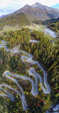 IBXSZM04593540 Serpentines at the Maloja Pass, Val Bregaglia, Engadine, Grisons, Switzerland, Europe