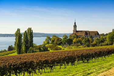 IBXDJS04635760 View of Lake Constance with vineyards and Birnau Monastery, near Überlingen, Baden-Wurttemberg, Germany, Europe