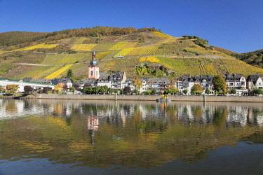 IBXMAL04638706 Zell at Moselle, Collis Turm and vineyards, Rhineland-Palatinate, Germany, Europe