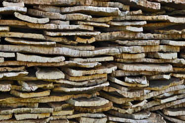 IBXREH04315780 Stacked cork bark of cork oak (Quercus suber), Sardinia, Italy, Europe