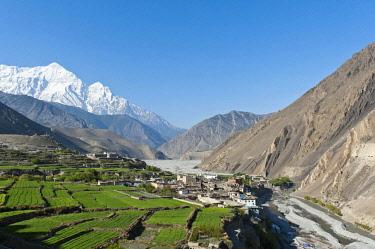 IBXSAU03757568 Settlement on the Kali Gandaki River, snow-capped Mt Nilgiri North, 7061 m, at back, Kagbeni, Lower Mustang, Lo, Nepal, Asia
