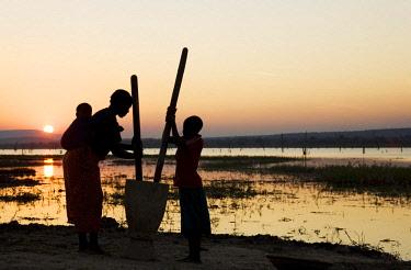 IBXTDR04620331 Tonga women at sunset, pounding grain at the shore of Lake Kariba, Zambia, Africa