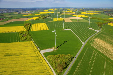 IBLBLO04533797 Wind park, wind energy plant, alternative energy, Haarstrang near Ruthen, rape fields on the city boundaries between Ruthen, Warstein-Belecke and Anrochte, agriculture, old barn, fields, meadows, farm...