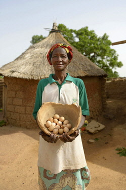 IBLFLK04517652 Woman, farmer proudly showing eggs from her chickens, Toeghin village, Oubritenga province, Plateau Central region, Burkina Faso, Africa *** IMPORTANT: Use by development aid organizations in Germany...
