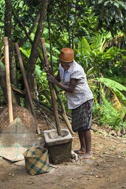 IBLGVA04585670 Woman pounding rice, Betsimisaraka Ethnie, Ambavaniasy, Madagascar, Africa