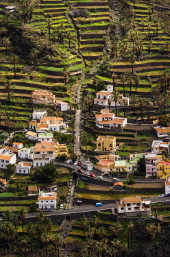IBLTHH03770702 Houses in the valley, Lomo del Moral, La Gomera, Canary Islands, Spain, Europe
