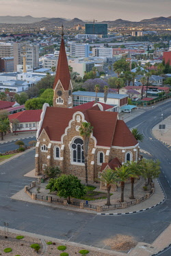 IBXDRN04649067 Evangelical Lutheran Christ Church of 1910 with an overview of the city, Windhoek, Namibia, Africa