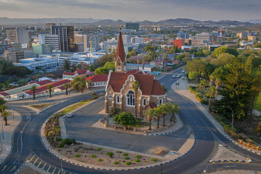 IBXDRN04649069 Evangelical Lutheran Christ Church of 1910 with an overview of the city, Windhoek, Namibia, Africa