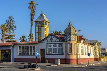 IBXDRN04649116 Street with restored houses from the colonial period, Swakopmund, Erongo District, Namibia, Africa