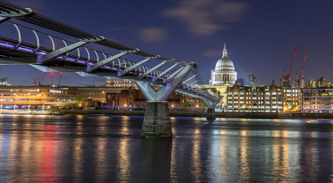 IBXMMW04601792 Millenium Bridge and St Paul's Cathedral by night, London, England, Great Britain