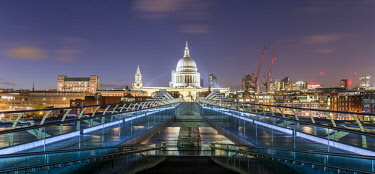 IBXMMW04601794 Millenium Bridge and St Paul's Cathedral by night, London, England, Great Britain