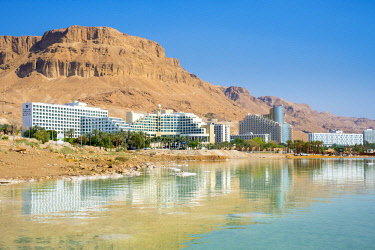 ISR0532AW Israel, South District, Ein Bokek. The resort town of Ein Bokek on the Dead Sea.
