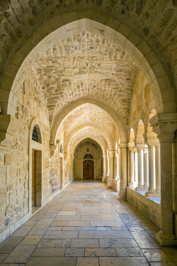 ISR0495AW Palestine, West Bank, Bethlehem. Cloister of the Church of the Nativity, UNESCO World Heritage Site.