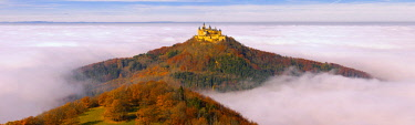 IBXTKE04363742 Hohenzollern Castle in the morning light with morning mist, Swabian Jura, Baden-Wurttemberg, Germany, Europe