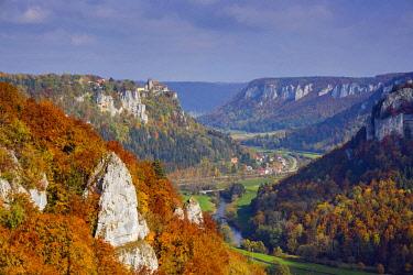 IBXWGA04360366 Werenwag Castle, Upper Danube Nature Park, Swabian Jura, Baden-Wurttemberg, Germany, Europe