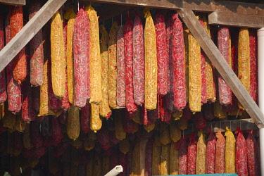 IBXPWN03745022 Hungarian paprika (Capsicum annuum) being dried, Kalocsa, Hungary, Europe