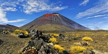 IBXRUM04407493 Volcanic landscape with the volcano Mt Ngauruhoe, Tongariro Alpine Crossing trail, Manawatu-Wanganui, North Island, New Zealand, Oceania