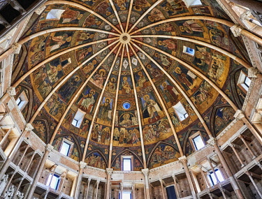 IBLPWP04354714 Romanesque frescoes inside the dome of the Romanesque Baptistery, Parma, Emilia Romagna, Italy, Europe