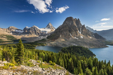 IBLROH04562218 View from the summit of Mount Nublet on Mount Assiniboine, Mount Sunburst, Lake Magog, Lake Sunburst and Lake Cerulean, Canadian Rocky Mountains, Mount Assiniboine Provincial Park, British Columbia, C...