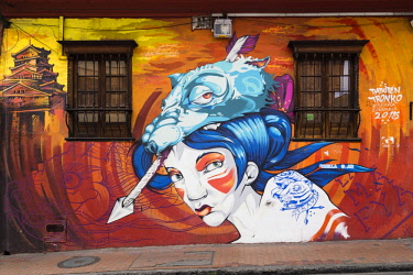 IBLOYO04410220 Street art, mural, Bogota, District of La Concordia, Colombia, South America