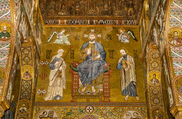 IBLJUN04339390 Byzantine mosaic, Christ Pantocrator enthroned and flanked by Saints Peter and Paul, Cappella Palatina, Palatine Chapel of the Palace of the Normans or Royal Palace of Palermo, UNESCO, Palermo, Sicily...