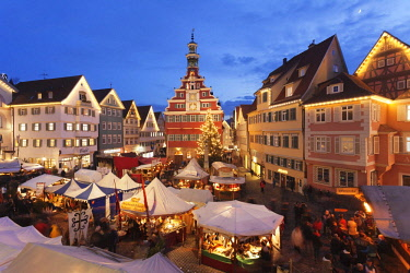 Illuminated Christmas market in front of the old city hall, Esslingen am Neckar, Baden-Wurttemberg, Germany, Europe