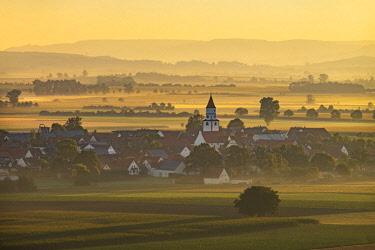 IBLMAN04436896 Birkhausen at Wallerstein in the morning light, sunrise, Nordlinger Ries, Swabia, Bavaria, Germany, Europe