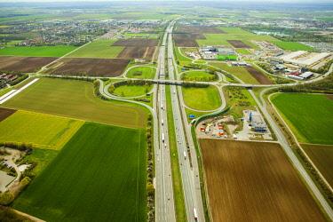 IBLMIR04361441 Aerial View, motorway interchange A99, Kirchheim near Munich, Bavaria, Germany, Europe