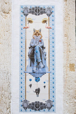 IBLENH04411890 Tile image on a wall, fox sitting on a chair, Lisbon, Portugal, Europe