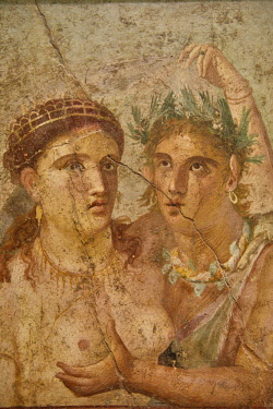 IBLFVP04387520 Erotic wall painting of Satiro and Menade, Casa di Lucio Cecilio Giocondo in Pompeii, Museo Archeologico Nazionale, Naples, Campania, Italy, Europe
