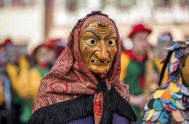 IBLFVP04506480 Witch on carnival procession, Big Fasendumzug, Gengenbach, Ortenaukreis, Alemannic Fasnacht, Baden-Wurttemberg, Germany, Europe