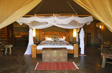 IBLCXB04392559 Safari luxury tent, Interior, Severin Safari Camp, Tsavo West National Park, Taita-Taveta County, Kenya, Africa
