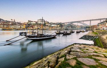 IBLDKR04483732 Rabelo boats, port wine boats on the Rio Douro, Douro River, Porto, Portugal, Europe