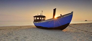 IBLAVI04419437 Fishing boat on beach at sunrise, Heringsdorf, Usedom, Mecklenburg-Western Pomerania, Germany, Europe
