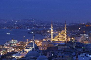 IBLBDN04372580 Cityscape with Süleymaniye mosque at night, seen from Hamdi Restaurant, Istanbul, Turkey, Asia