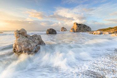 CLKAB84866 Cyprus, Paphos, Petra tou Romiou also known as Aphrodite�Äôs Rock at sunrise