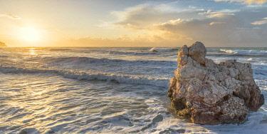 CLKAB84867 Cyprus, Paphos, Petra tou Romiou also known as Aphrodite�Äôs Rock at sunrise