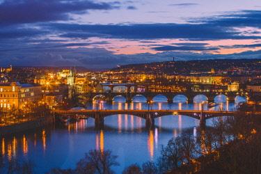 CLKFV86010 Vltava River with the bridges, Charles Bridge and the Old Town Bridge Tower, Prague, Bohemia, Czech Republic