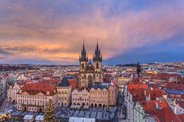 CLKFV87042 Prague, Czech Republic The Church of Saint Mary of Tyn photographed at sunset