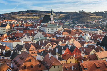 CLKFV88271 Czech Republic, South Bohemia, Cesky Krumlov, Clouds above town