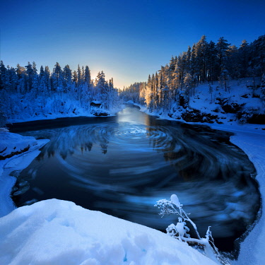 CLKSC85153 Myllytupa gorge at Oulanka National Park in winter, Oulu, Lapland, Finland