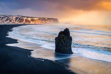 CLKST83905 Reynisfjara beach from Dyrholaey viewpoint, Vik, Southern Iceland