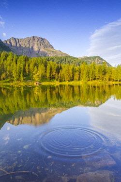 CLKAB83630 Lake at Passo San Peggerino. Moena, Dolomites, Passo San Pellegrino, Trento Province, Trentino Alto Adige, Italy